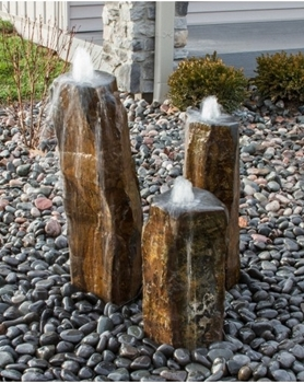 AquaBella Triple Bowled, Polished Top Basalt Fountain Kit