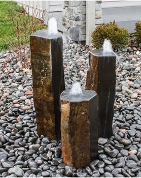 AquaBella Triple Polished Top & 1 Side Basalt Fountain Kit