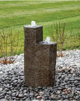 "AquaBella Twin Basalt Tower 32"" And 24"" Fountain Kit"
